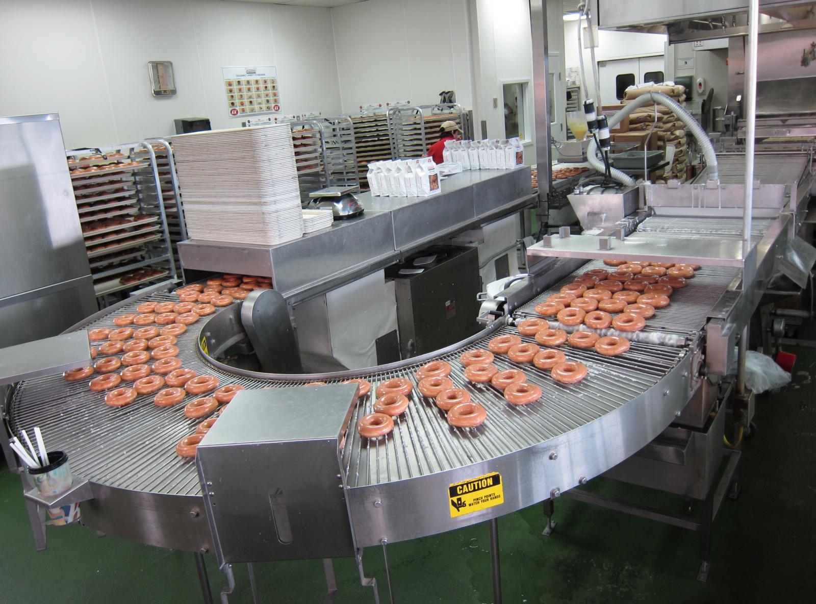 A machine for mass producing donuts.